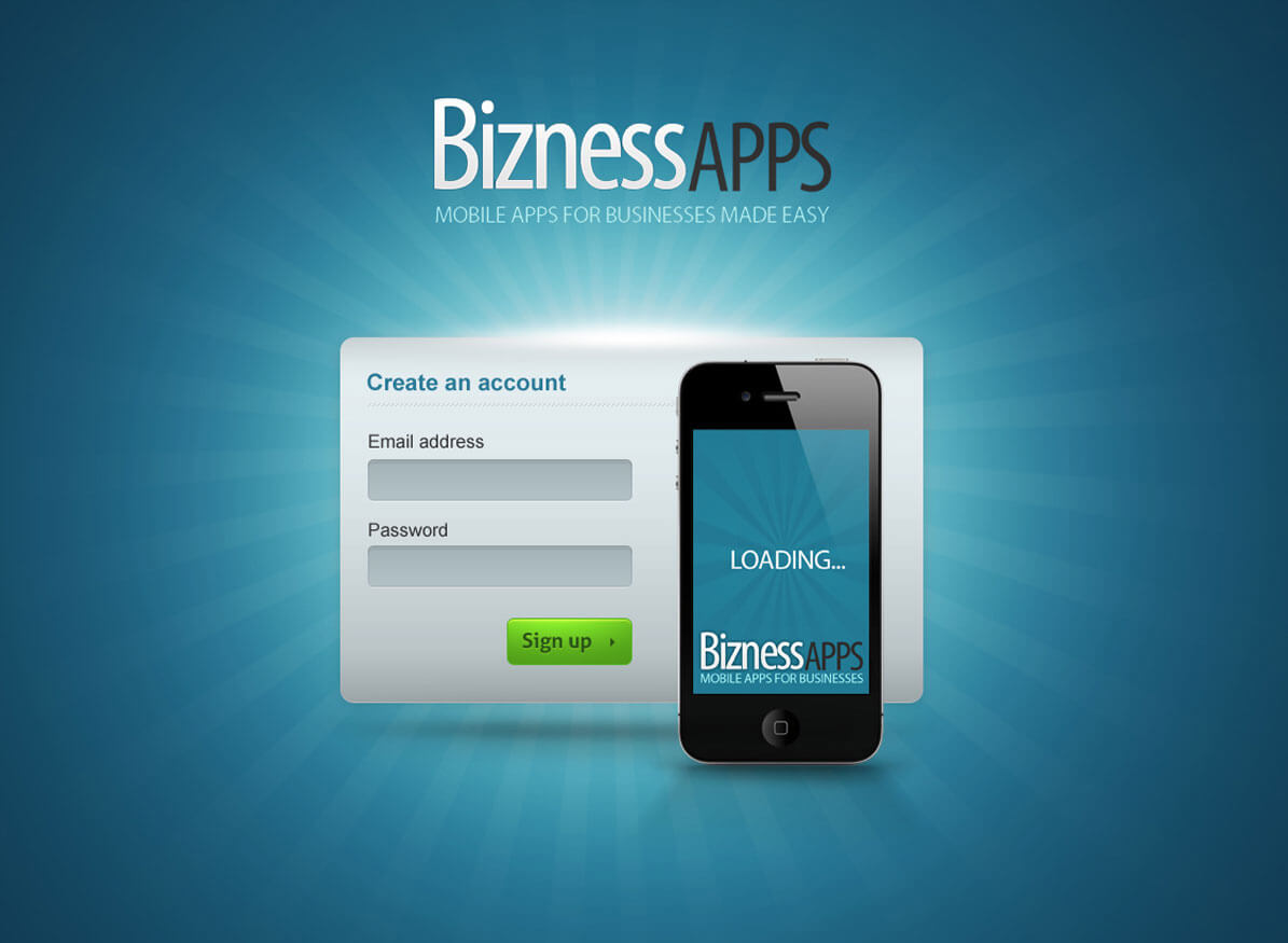 Bizness Apps splash layout